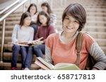 group of happy teen high school ... | Shutterstock . vector #658717813