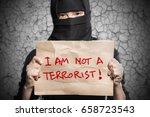 muslim girl in black hijab... | Shutterstock . vector #658723543