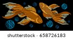 embroidery with golden fish on... | Shutterstock .eps vector #658726183