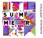 trendy vector holiday summer... | Shutterstock .eps vector #658737613