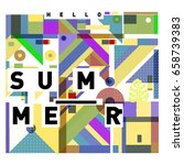 trendy vector holiday summer... | Shutterstock .eps vector #658739383
