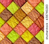 leather patchwork background 3d ... | Shutterstock . vector #658740283