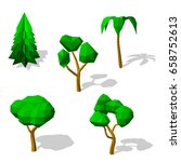 polygonal trees set. isolated... | Shutterstock .eps vector #658752613