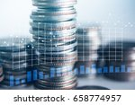 close up of rows coins for... | Shutterstock . vector #658774957