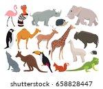cute wild animals in cartoon... | Shutterstock .eps vector #658828447