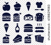 snack icons set. set of 16... | Shutterstock .eps vector #658829083