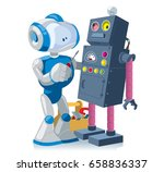 new robot with a screwdriver... | Shutterstock .eps vector #658836337