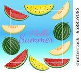 summer colorful poster. vector... | Shutterstock .eps vector #658859083