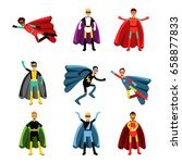 male superheroes in different... | Shutterstock .eps vector #658877833