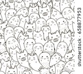 doodle ghosts seamless pattern. ...   Shutterstock .eps vector #658877953