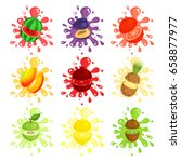 fresh fruits splashes set ... | Shutterstock .eps vector #658877977