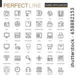 household appliances thin line... | Shutterstock .eps vector #658882153