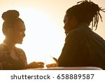 couple making a toast with some ... | Shutterstock . vector #658889587
