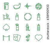 club icons set. set of 16 club