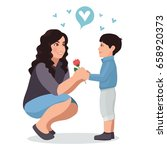 son gives flower to mother.... | Shutterstock .eps vector #658920373