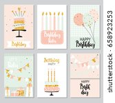 happy birthday greeting card... | Shutterstock .eps vector #658923253