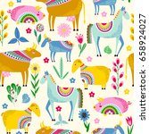 seamless pattern with stylized... | Shutterstock .eps vector #658924027