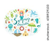 vector doodle set with... | Shutterstock .eps vector #658929103