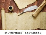 closeup of scroll and quill... | Shutterstock . vector #658935553