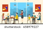 people in cafe. | Shutterstock . vector #658979227
