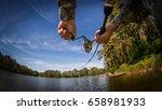 fishing buckground. fisherman... | Shutterstock . vector #658981933