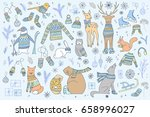 vector hand drawn cute forest... | Shutterstock .eps vector #658996027