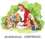 jesus reading the bible to... | Shutterstock .eps vector #658998103