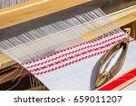 weaving  loom with linen   Shutterstock . vector #659011207
