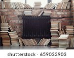 library. pile of books indoor | Shutterstock . vector #659032903
