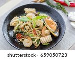stir fried spicy spaghetti with ... | Shutterstock . vector #659050723