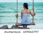 back of alone woman thinking... | Shutterstock . vector #659063797