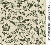 seamless beige and green floral ... | Shutterstock .eps vector #659067763