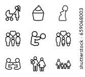 mom icons set. set of 9 mom... | Shutterstock .eps vector #659068003