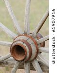 old wooden wagon wheel with a... | Shutterstock . vector #65907916
