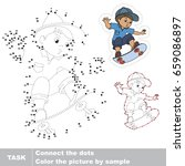 skateboarding boy. dot to dot... | Shutterstock .eps vector #659086897