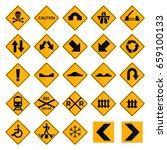 set of square yellow road signs | Shutterstock .eps vector #659100133