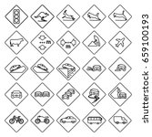 set of square road signs in... | Shutterstock .eps vector #659100193