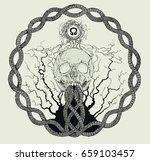 chaotic inspired skull design | Shutterstock .eps vector #659103457
