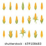 set of corn with green leaves... | Shutterstock .eps vector #659108683