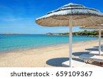 romazzino beach with white... | Shutterstock . vector #659109367
