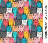 colorful hand drawn cats vector ... | Shutterstock .eps vector #659116807