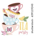 tea party greeting or... | Shutterstock .eps vector #659119243