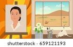 georgia o'keeffe cartoon   cute ... | Shutterstock .eps vector #659121193