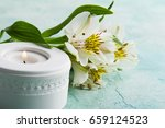 white lit candle  lily flowers... | Shutterstock . vector #659124523