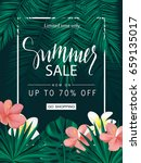 summer sale. tropical banner ... | Shutterstock .eps vector #659135017