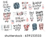 collection of pink red  black ... | Shutterstock .eps vector #659153533