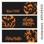 set of happy halloween banners  ... | Shutterstock .eps vector #659159323