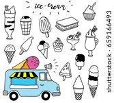 hand drawn ice cream set | Shutterstock .eps vector #659166493