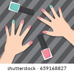 hand and nail polish layout... | Shutterstock .eps vector #659168827