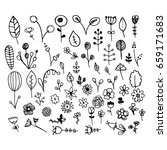 a set of hand drawn plants.... | Shutterstock .eps vector #659171683